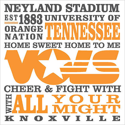 University Of Tennessee Graphic Canvas Poster by Debbie Karnes