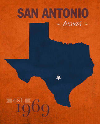 University Of Texas At San Antonio Roadrunners College Town State Map Poster Series No 111 Poster by Design Turnpike