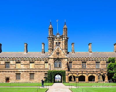 University Quadrangle With Gothic Revival Architecture Poster
