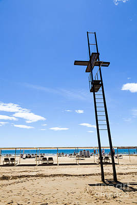 Unoccupied Lifeguard Platform On  The Beach  Poster