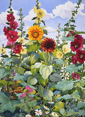 Hollyhocks And Sunflowers Poster by Christopher Ryland