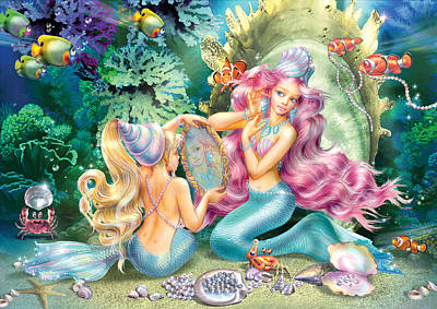 Mermaids And Pearls Poster by Zorina Baldescu