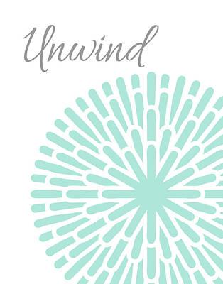 Unwind Aqua Grey Burst Poster