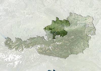 Upper Austria, Austria, Satellite Image Poster