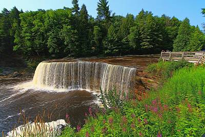 Upper Tahquamenon Falls In Summer Poster by Dan Sproul