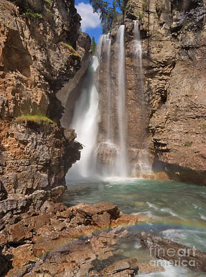 Upper Waterfall At Johnston Canyon Poster by Charles Kozierok