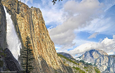 Upper Yosemite Fall And Half Dome Poster