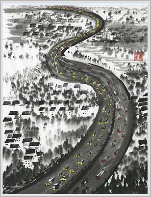 Poster featuring the painting Ups And Downs by Ping Yan