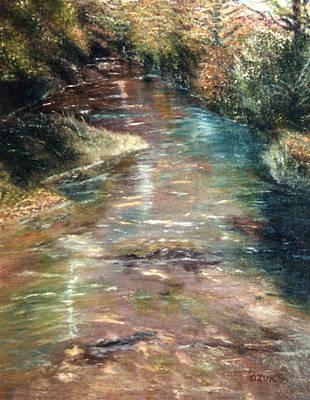 Poster featuring the painting Upstream by Karen Zuk Rosenblatt