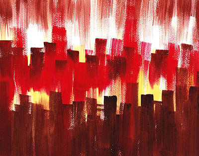 Poster featuring the painting Urban Abstract Evening Lights by Irina Sztukowski