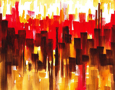 Poster featuring the painting Urban Abstract Glowing City by Irina Sztukowski