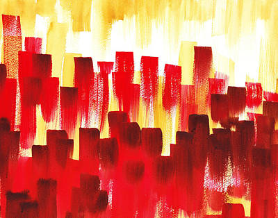 Poster featuring the painting Urban Abstract Red City Lights by Irina Sztukowski