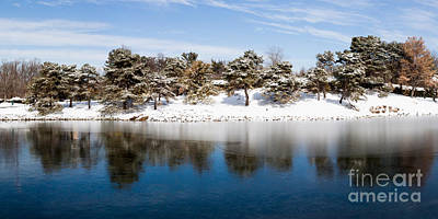 Urban Pond In Snow Poster