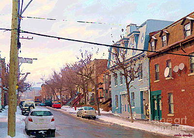 Urban Winter Landscape Colors Of Quebec Cold Day Pointe St Charles Street Scene Montreal  Poster by Carole Spandau