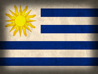 Uruguay Flag Vintage Distressed Finish Poster