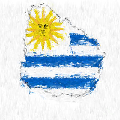 Uruguay Painted Flag Map Poster