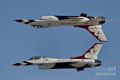 U.s. Air Force Thunderbirds Demonstrate Poster by Stocktrek Images