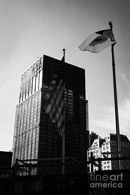 Us And New York Flags In Front Of Deutsche Bank Building Due For Demolition Liberty Street Ground Ze Poster