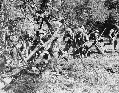 U.s. Army Machine Gun Crew Protecting Poster by Stocktrek Images