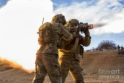 U.s. Army Rangers Fire An At-4 Poster by Stocktrek Images