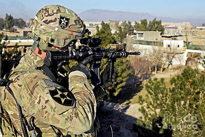 U.s. Army Soldier Scans For Security Poster by Stocktrek Images