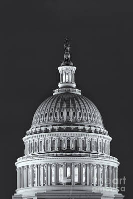 Us Capitol Dome At Night II Poster by Clarence Holmes