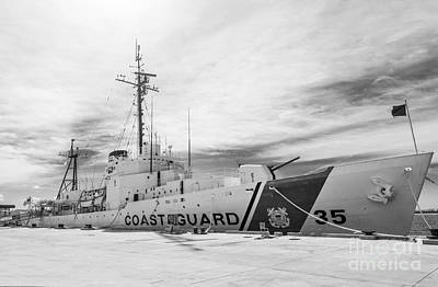 Us Coast Guard Cutter Ingham Whec-35 - Key West - Florida - Black And White Poster by Ian Monk