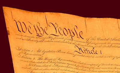 Us Constitution Closest Closeup Red Brown Background Larger Sizes Poster