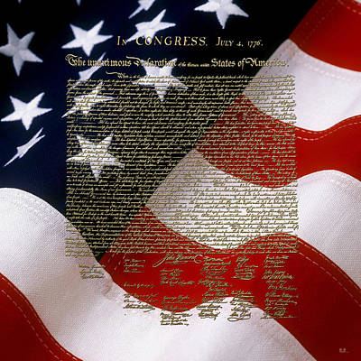 U.s. Declaration Of Independence In Gold Over American Flag Poster by Serge Averbukh