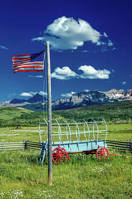 Us Flag And Covered Wagon, Hastings Poster