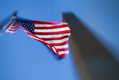 Us Flag At Washington Monument At Dusk Poster by David Smith
