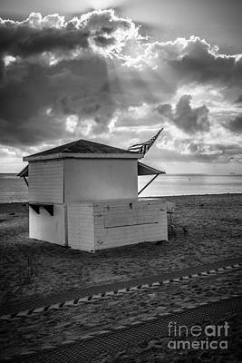 Us Flag On Beach Hut Illuminated By Early Morning Sun - Black And White Poster by Ian Monk