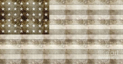 Us Flag Sketch Poster by Celestial Images