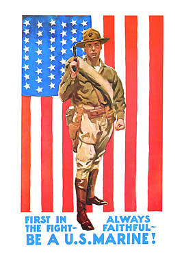 Poster featuring the mixed media U.s. Marine by Presented By American Classic Art