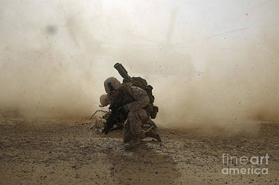 U.s. Marine Shields Himself From Dust Poster