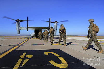 U.s. Marines And Sailors Board An Poster by Stocktrek Images