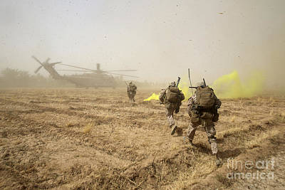 U.s. Marines Sprint Across A Field Poster