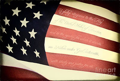 Us Pledge On Us Flag Poster by Brian Mollenkopf