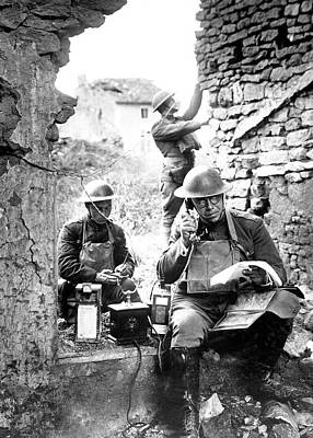 Us Soldiers With Captured German Phone Poster