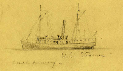 U.s. Steamer, Between 1860 And 1865, Drawing On Tan Paper Poster