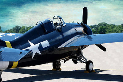 Us Ww II Grumman F4f Wildcat Fighter Plane Textured Sky Poster