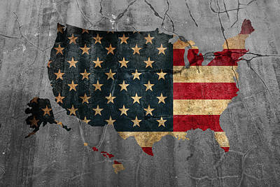 Usa American Flag Country Outline Painted On Old Cracked Cement Poster