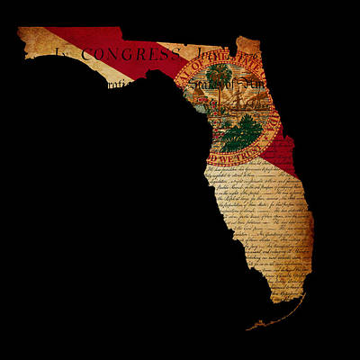 Usa American Florida State Map Outline With Grunge Effect Flag I Poster
