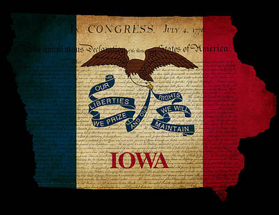 Usa American Iowa State Map Outline With Grunge Effect Flag And  Poster