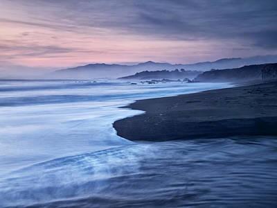 Usa, California, Cambria, Dusk Poster by Ann Collins