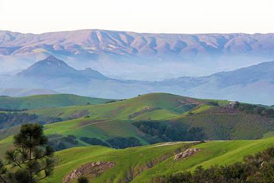 Usa, California Evening Fog Morro Rock Poster