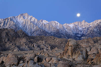 Usa, California Moonset On Lone Pine Poster