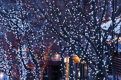 Usa, Colorado, Aspen, Christmas Lights Poster by Walter Bibikow