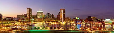 Usa, Maryland, Baltimore, City At Night Poster by Panoramic Images