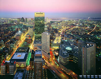 Usa, Massachusetts, Boston, Night View Poster by Tips Images